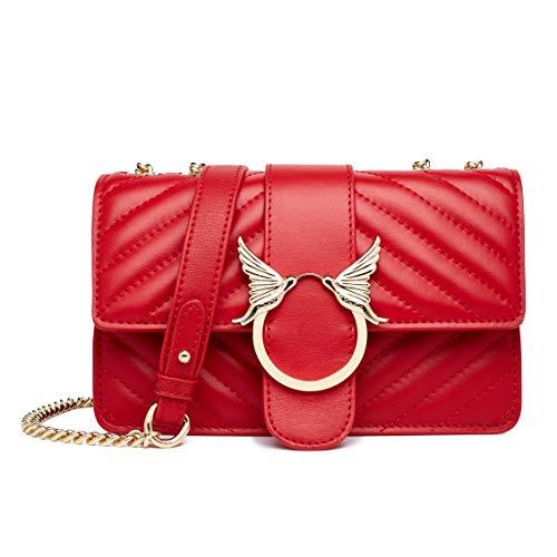 Modische Schultertasche für Damen, aus echtem Leder, Clutch, Handtasche, gesteppt, Crossbody-Tasche mit Kette, Rot (weinrot), Einheitsgröße