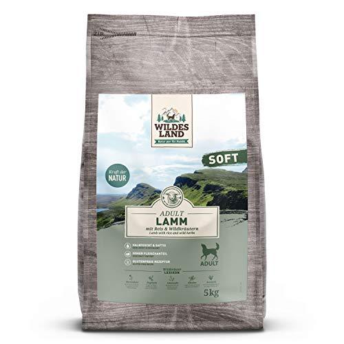 Wildes Land | Halbfeuchtes Trockenfutter für Hunde | Lamm | 5 kg |Soft mit Reis und Wildkräutern | Glutenfrei | Extra viel Fleisch | Für alle Hunderassen | Beste Akzeptanz