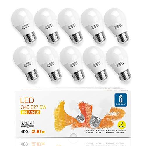Lampadine LED E27 5W Luce Bianca Calda 3000K 400 Lumen, Mini Globo Lampadina Pacco da 10 [Classe di efficienza energetica A+]