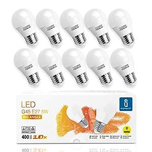 Aigostar -10 x E27 Bombilla LED G45, Casquillo gordo 5W, Bajo consumo, 400lm, Luz calida 3000K, Ahorro de energía, no regulable - Caja de 10 unidades