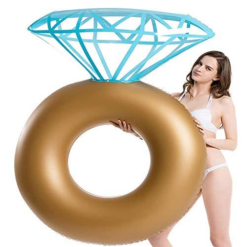 XZLX Aufblasbare Diamant-Ring Pool Float, Ring Bachelorette Party Float Stagette Dekorationen Schwimmen Schlauch Floaty Außen Water Lounge Für Erwachsene & Kinder