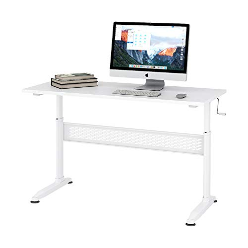 DEVAISE Height Adjustable Standing Desk with Removable Crank, 55' Sit Stand Up Desk Workstation for Home Office, White