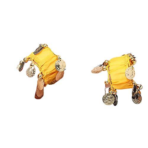 Bauchtanz Handgelenk Handkette Manschette Armband Mit Goldfarbenen Münzen Gelb Eine Größe