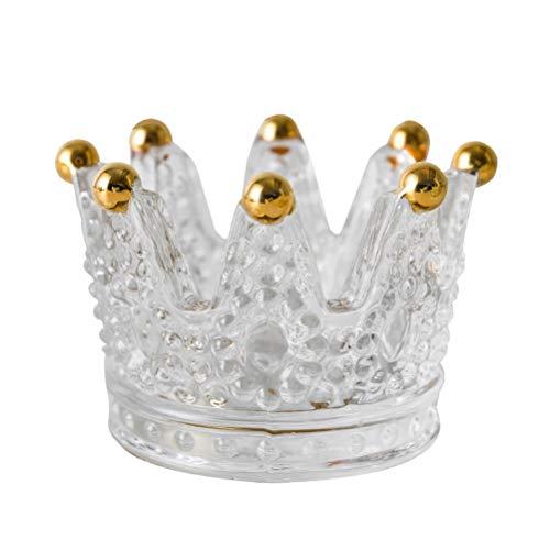 Bireegoo, 2 portacandele in vetro a forma di corona portacandele per matrimoni, feste, festival e decorazioni per la casa, trasparenti