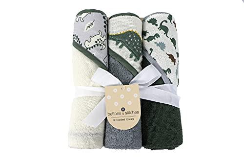 Cudlie Botones y puntadas Baby Boy 3 Pack de toallas con capucha enrolladas/cardadas en impresión Dino Roar (GS71721)