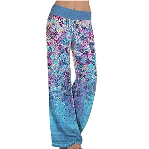 N\P Mujeres de posicionamiento suelto impresión yoga pierna ancha pantalones deportivos mujeres mujeres