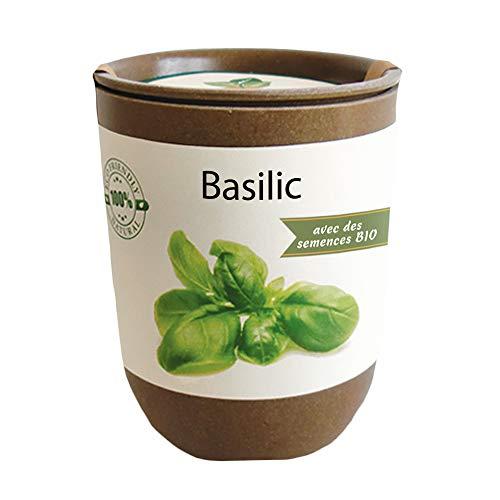 Feel Green Ecocan, Basilic Certifiées Bio, Idée Cadeau (100% Biodégradable), Grow-Your-Own/Kit Prêt-à-Pousser, Le Pot Écologique Qui Croît 9 x 7 cm, Produit en Autriche