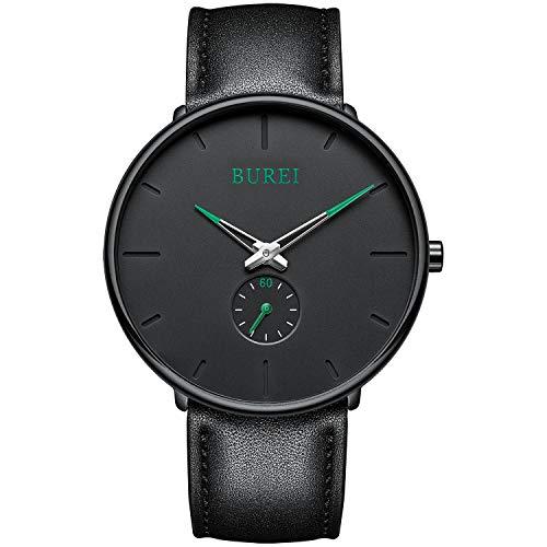 BUREI Herrenuhr ultradünnes schwarzes großes dial Klassische analoge Grün-Zeiger in Quarz mit weichem schwarzem Lederarmband