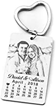 Personalized Picture Keychain,Our Special Day Calendar and Photo Keychain,Anniversary Gift,Memories Key Ring,Gift for him