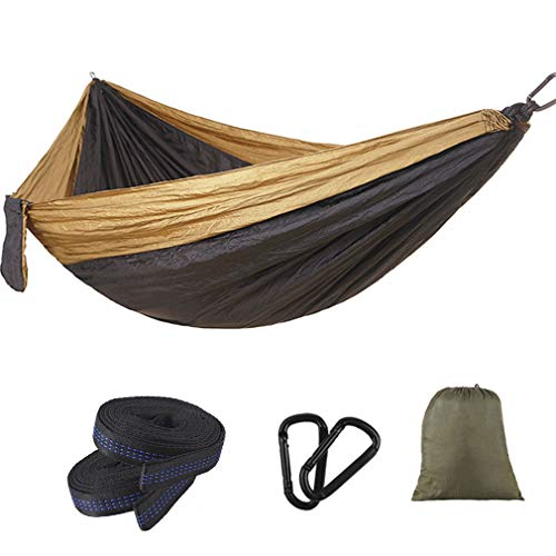 CARYY Camping Hammock,Double and Single Lightweight Portable Nylon Parachute Hammocks Beach Tent for Backpacking,Backyard,Patio,Hiking,Best Travel Gear Gold+Black