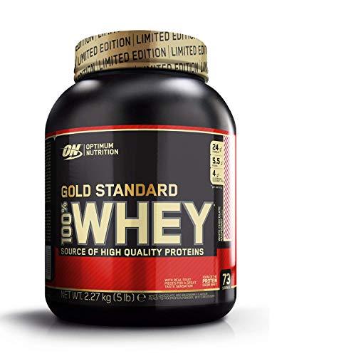 Optimum Nutrition ON Gold Standard 100% Whey Proteína en Polvo Suplementos Deportivos, Glutamina y Aminoacidos, BCAA, Chocolate Blanco y Frambuesa, 73 porciones, 2.27 kg, Embalaje puede variar