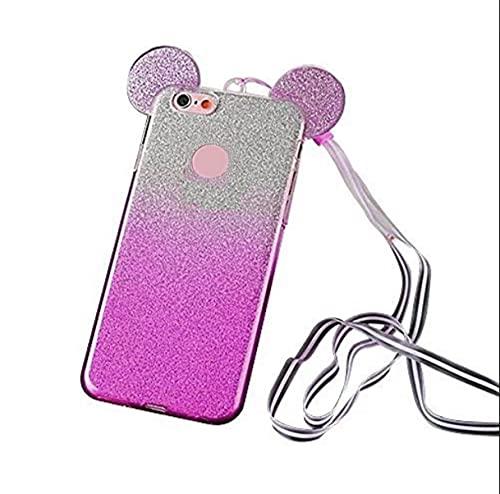 Compatible con Huawei Y6 (2018) / Honor 7A' 5.7' Funda cover soft slim case gel silicona TPU blanda fucsia/transparente + Silver Silver Silver Strass Glitter Lurex