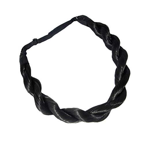 Madison Braids Womens Braided Headband Hair Braid Synthetic Hair Piece Extension - Junie Twist - Black