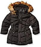 Steve Madden Girls Girls' Little Long Outerwear Jacket (More Styles Available), Medium Length Two Black, 5/6