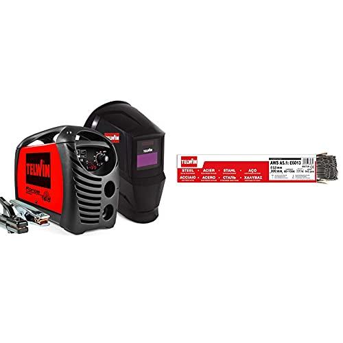 TELWIN 815863 Force 165 Saldatrice Inverter Ad Elettrodo Con Maschera Automatica E Accessori Di Saldatura & 802739 Elettrodi Rutili Per Saldatura D. 2.5 Mm 2.5 Kg, 0.1 V, Grigio