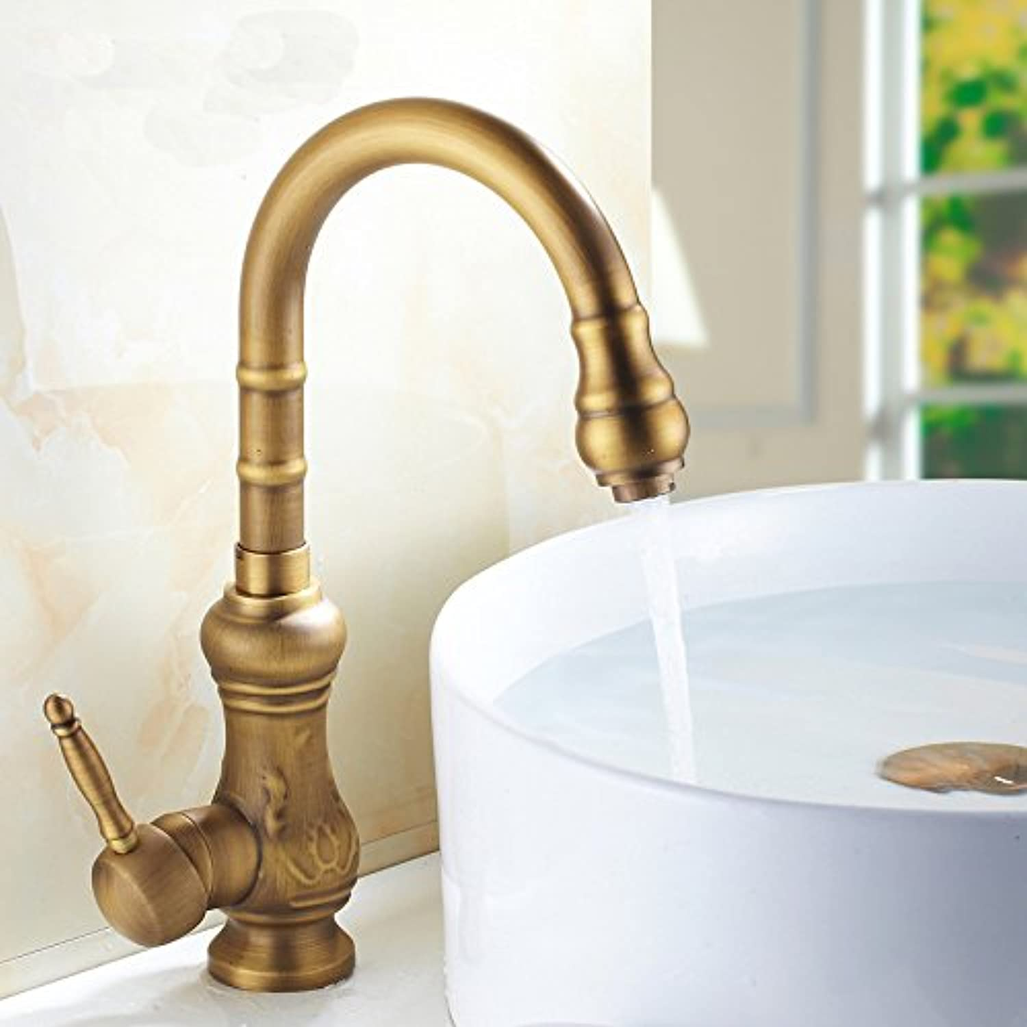 Commercial Single Lever Pull Down Kitchen Sink Faucet Brass Constructed Polished European Antique Faucet European Antique Faucet Kitchen Sink Basin Faucet Hot and Cold redation