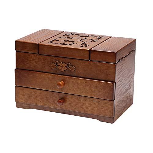 Joyero de madera tallada clásica, caja de almacenamiento con espejo para pendientes, pulsera, organizador de joyas de 3 capas (color envejecido, tamaño: 30 x 10,6 x 20 cm)