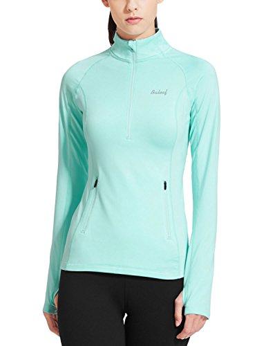 Baleaf Women's Thermal Fleece Half Zip Thumbholes Long Sleeve Running Top Aqua Size S