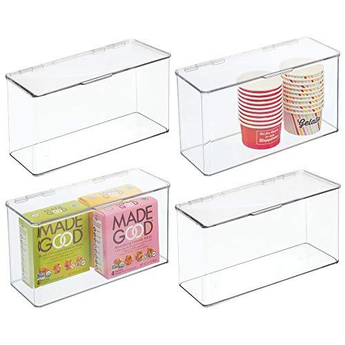 mDesign Cajas de plástico sin BPA con tapa – Caja de almacenaje para cocina, despensa o frigorífico – Organizador de nevera apilable para pasta, fruta, etc. – Juego de 4 – transparente