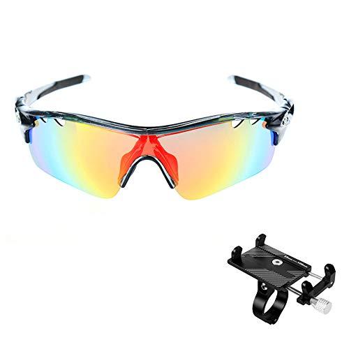 ZHLZH Radsportbrille/Radsportbrille Klare, polarisierte Sport-Sonnenbrille mit 5 austauschbaren Gläsern für Männer, Frauen, Angeln, Golf, Baseball-Brille,Black