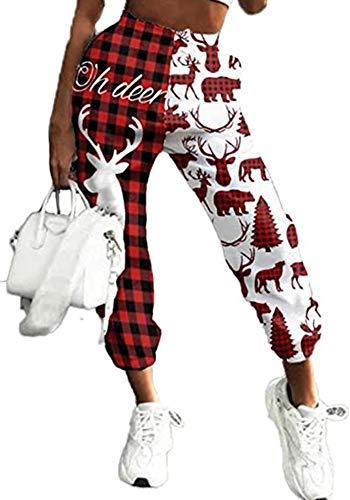 Women Girls Christmas Jogger Sweatpants Xmas Cinch Bottom Pants Holiday Lounge Sport Bottoms (Plaid, M)