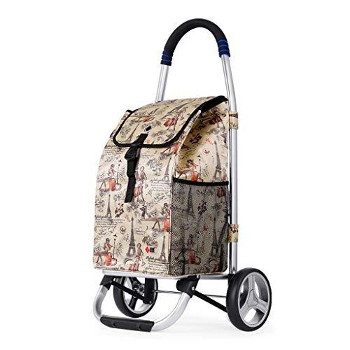 Z-SEAT Einkaufswagen Aluminiumlegierung, 2in1 zusammenklappbarer Einkaufswagen 35 l Kapazität & Handwagen Superlader 75 kg, Oxford wasserdichte Tasche + verschleißfestes Kr