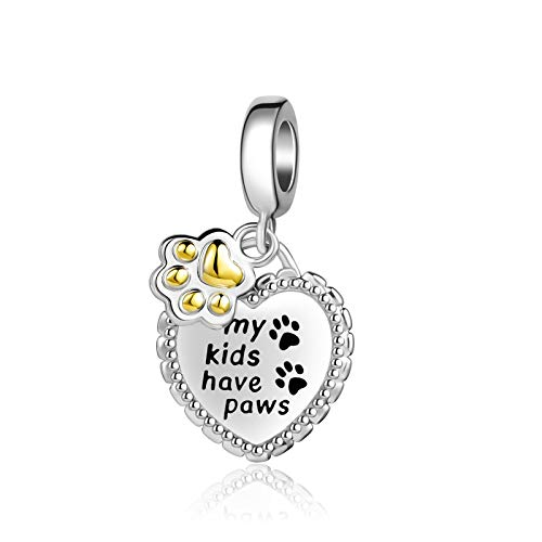 TCHYUN Dog Paw Bulldog French Bulldog Charms Love Animal Heart Beads Charms for Pandöra Bracelets Necklace Gifts for Mom Daughter Girls