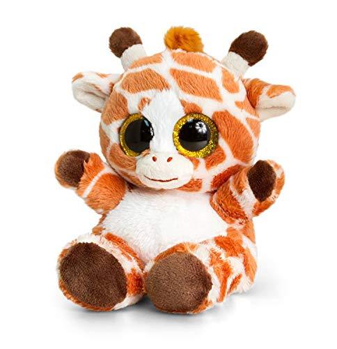 Animotsu pluche dier giraf, pluizige metgezel met grote glitteroogjes, ca. 15 cm.