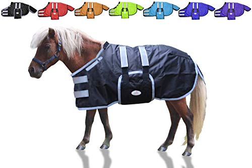 Derby Originals 600D Reflective Safety No Hardware Winter Foal Blanket with Warranty - Ripstop Breathable Waterproof Nylon Turnout Blankets for Foals & Mini Horses - Multiple Colors & Sizes, Large (42-48'), Black (Old)