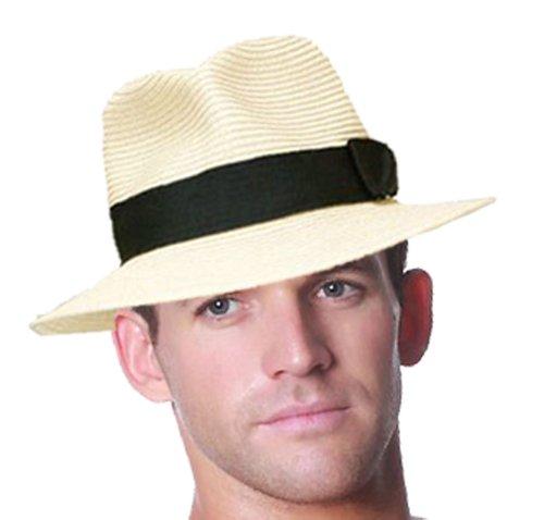 Paille froissable pliable été Panama Fedora chapeau mou avec bande - Noir, 59