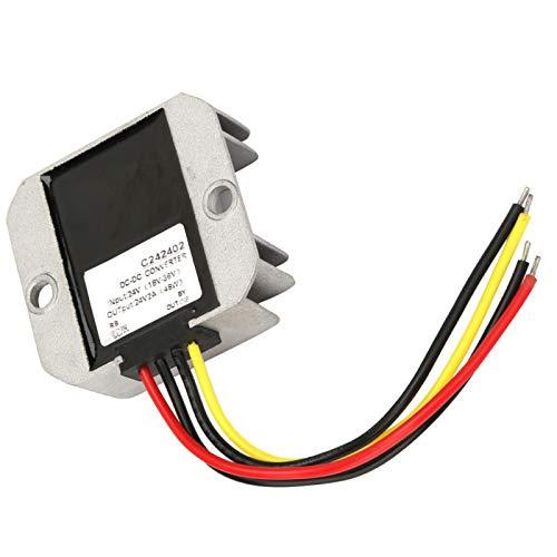 Kit de regulador de voltaje, convertidor regulador de transformador de voltaje a prueba de agua, motor de bomba de agua de 18-36 V a 24 V para ventilador de pantalla de coche(2A)