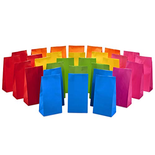 Hallmark Solid Color Party Favor and Wrapped Treat Bags (30 Ct., 5 Each of Blue, Red, Green, Yellow, Orange, Pink) for Birthdays, Baby Showers, Kids Crafts and Activities, May Day, Care Packages
