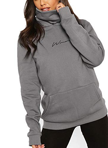TrendiMax Damen Hoodie Kapuzenpullover Langarm Sweatshirt Winter Pullover Hochkragen Sweatjacke Kapuzen Pullis