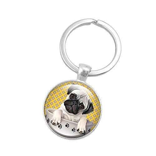 Keychain Glass Cabochon Pendant Keychain Pug Dog Jewelry Accessories Silver Allo