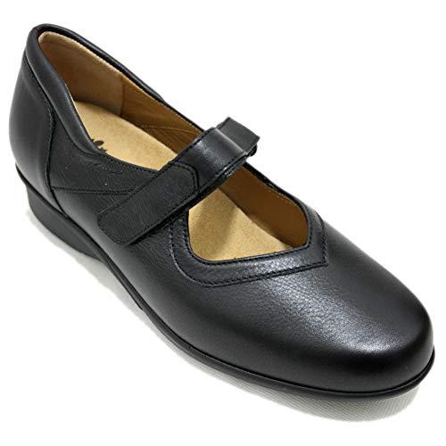 Alviflex 7479 - Mercedita Zapato Clásico Mujer Ancho Especial De Piel Negra con Plantilla Extraible Y Velcro Especial Medias - Negro, 36