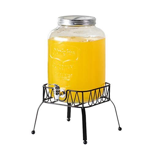 Dispensador de bebidas de vidrio con tapa, jarra de vidrio de cocina de entretenimiento para agua, zumo, vino, 5 l (1,3 galones)