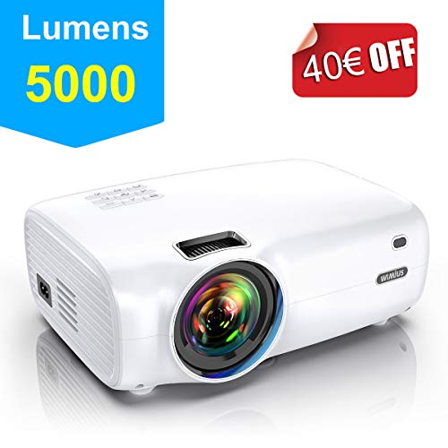 "Proyector, WiMiUS 5000 Lúmenes Proyector Portátil Full HD Soporta 1080P Proyector Cine en casa 720P Nativo con Audio Hi-Fi Pantalla 200 \"" Mini Video Proyector LED 60000 Horas HDMI/VGA/AV/ TF/USB"