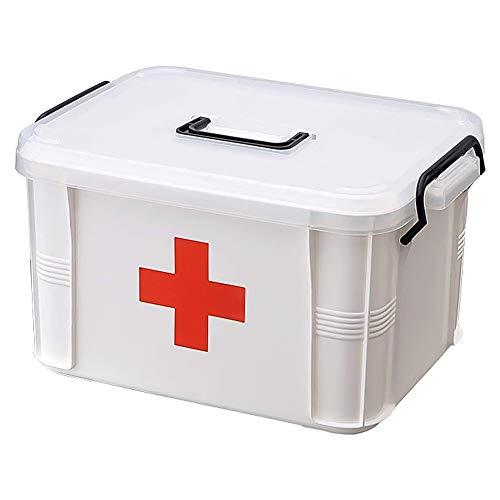 Isincer Caja de doble capa Caja de almacenamiento médica Cofre,Caja de medicina con cerradura portátil de plástico,Caja de contenedores de medicina Multi-capa Caja de primeros auxilios Blanco