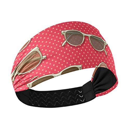 Diadema de entrenamiento para mujer, retro, colorida, cuadrada, gafas de sol, bandas para la cabeza para mujeres con correas elásticas antideslizantes para correr, fitness, baloncesto, baile, para to