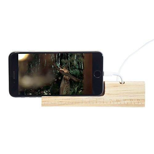 スマホスタンド 木製 コンクリート製 卓上 メジャー付き 縦置き 横置き iPhone カードスタンド 名刺ホルダー カード立て おしゃれ (ライトパイン)