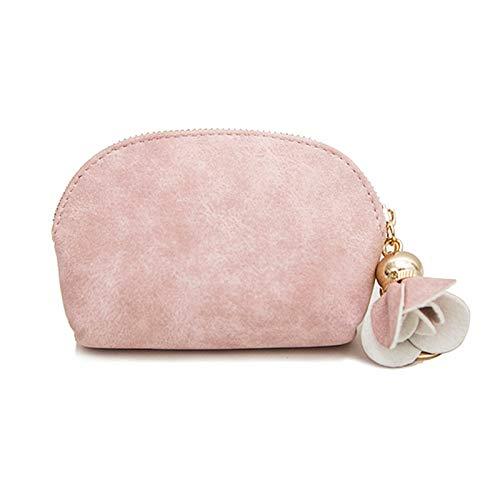 AKlamater Monedero para mujer, bonito monedero pequeño, monedero, anillo, bolsa de lona para monedas, tarjeta de crédito, tarjetas de identificación, llaves, lápiz labial (rosa)