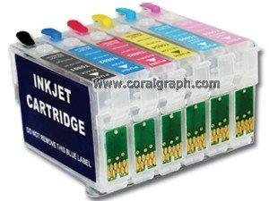 Navulbare cartridge voor Epson Printers T0801 806 w/o inkt Epson Stylus P50 PX650 PX660 PX700W PX710W PX720W PX730W PX800Fw PX810FW PX820FWD PX830FWD PX830FWD R265 R285 R360 RX68RX585 5 stuks.