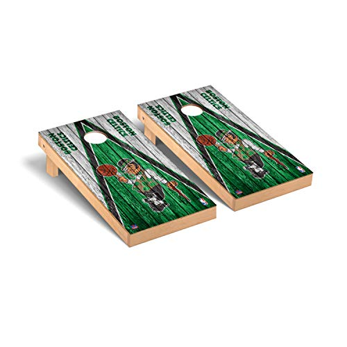 Victory Tailgate NBA Basketball Regulation Cornhole Game Set Weathered Triangle Version - Boston Celtics