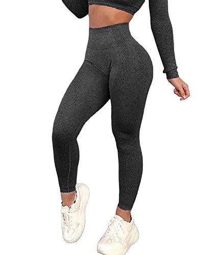 KIWI RATA Women's High Waist Workout Compression Seamless Fitness Yoga Leggings Butt Lift Active Tights Stretch Pants(#0 Peach Butt Black, S)