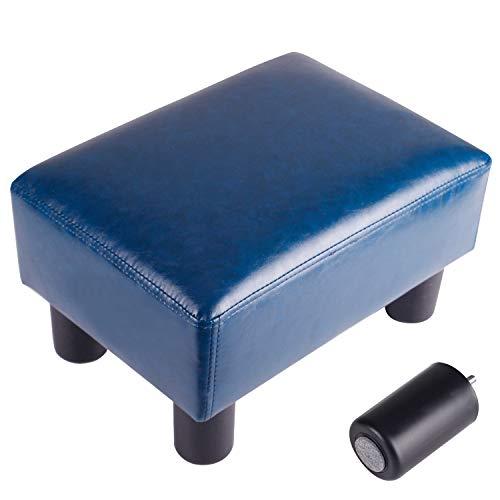 足置き台 オットマン スツール ベンチ 足置き 脚付きソファスツール ソファベンチ PUレザー (ブルー)