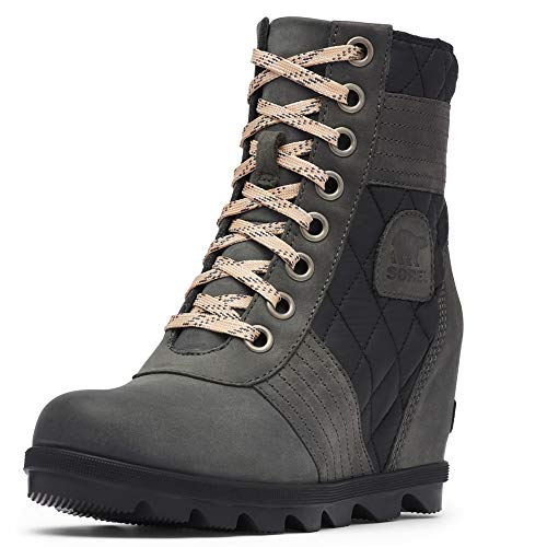 Sorel - Women's Lexie Wedge Waterproof Lace-Up Ankle Boot, Dark Slate, 8 M US