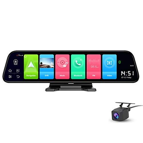 SZKJ D50B - Espejo retrovisor para salpicadero de Coche (Pantalla Completa 4G, IPS, visión Trasera, Android 8.1, con WiFi, GPS Navi, Bluetooth, Doble Lente FHD 1080P)
