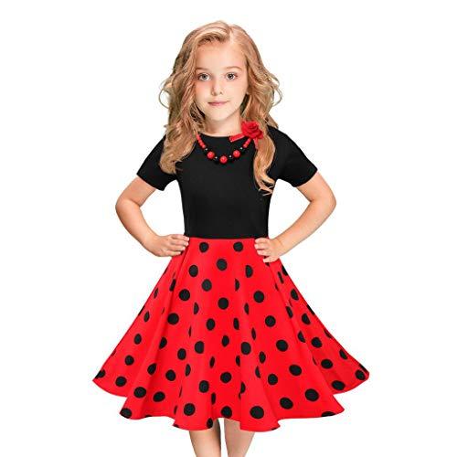 Vestidos de Fiesta de Las niñas de los niños Polka Dot Princesa Swing Rockabilly Vestidos de Fiesta Elegante Boda Vestidos Falda Princesa riou
