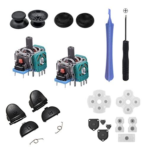 Zhou-YuXiang Piezas de reparación de manija, Almohadilla de Goma conductora, botón, Destornillador de Resorte, Tapa de Joystick, Piezas de reparación para PS4