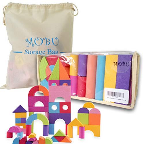 MOBU Soft Building Blocks Toys 50 Pieces Creative Safe Bright Color EVA Foam Brick Set Educational DIY Foam Building Blocks for Toddlers Babies& Kids Playing Indoor Outdoor Bathroom Bathtub or Beach